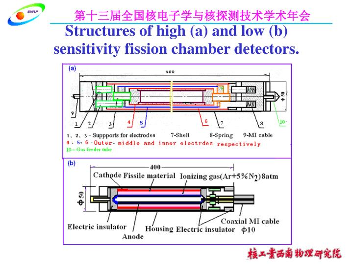 Structures of high (a) and low (b) sensitivity fission chamber detectors.