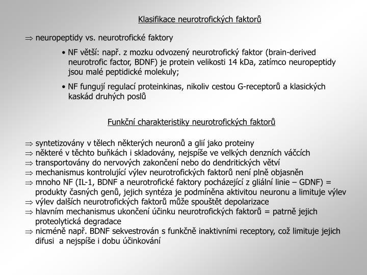 Klasifikace neurotrofických faktorů