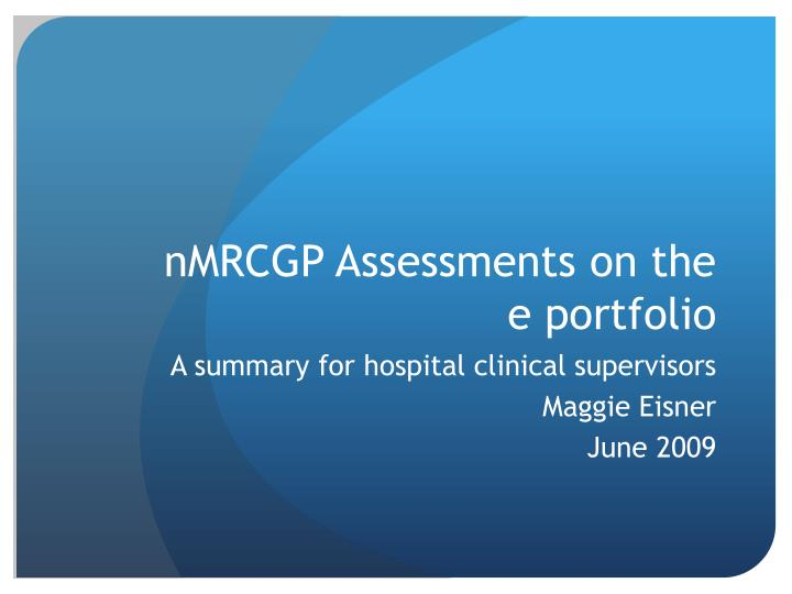 nmrcgp assessments on the e portfolio n.