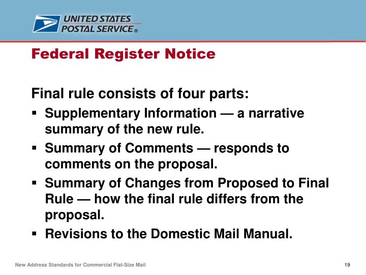 Final rule consists of four parts: