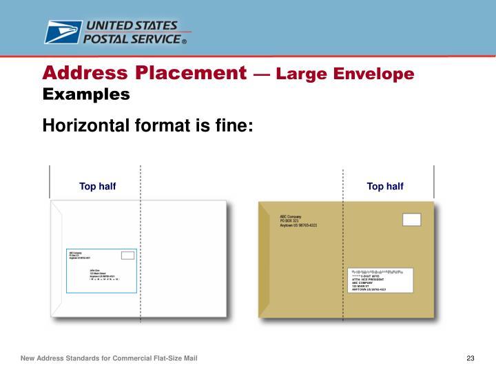 Horizontal format is fine: