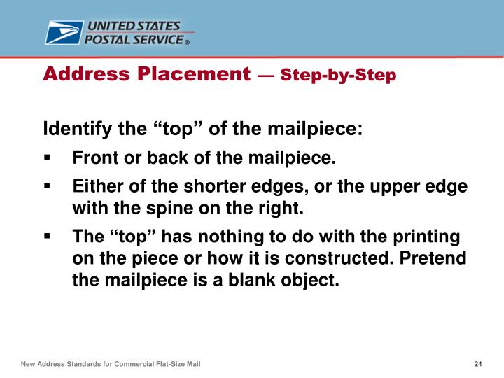 """Identify the """"top"""" of the mailpiece:"""