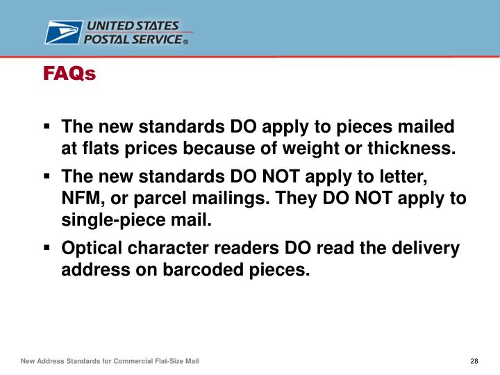 The new standards DO apply to pieces mailed at flats prices because of weight or thickness.