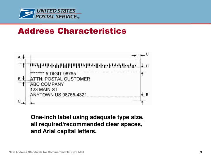 One-inch label using adequate type size, all required/recommended clear spaces, and Arial capital letters.