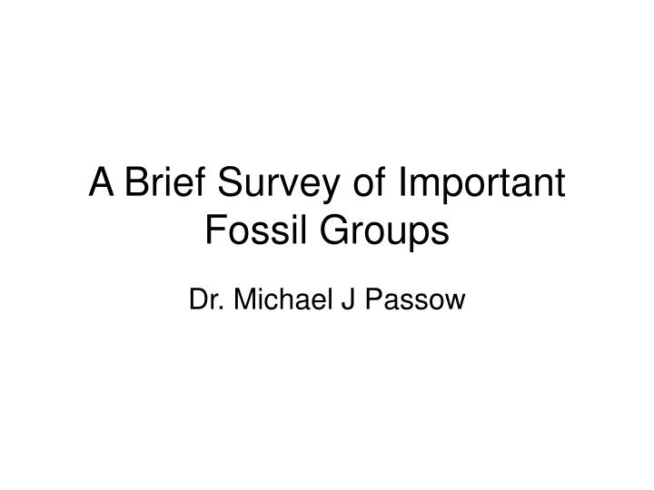a brief survey of important fossil groups n.