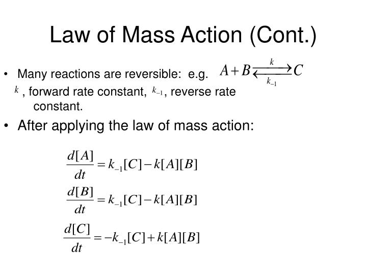 Law of Mass Action (Cont.)