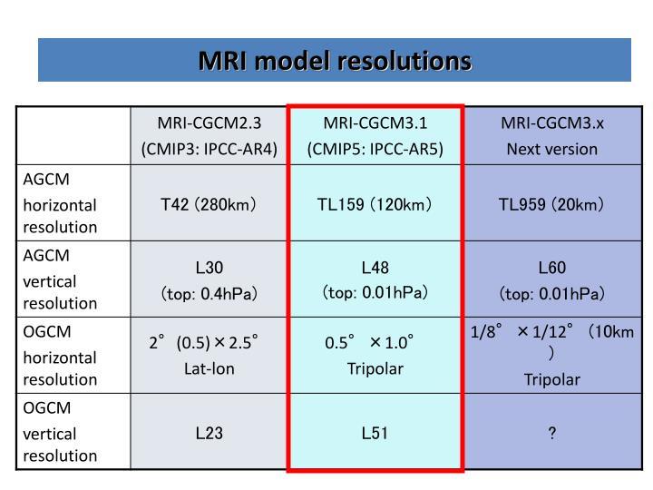MRI model resolutions