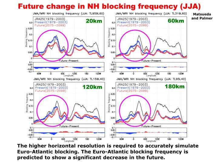 Future change in NH blocking frequency (JJA)