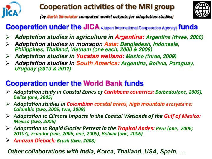 Cooperation activities of the MRI group