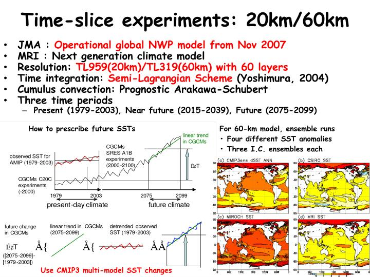 Time-slice experiments: 20km/60km