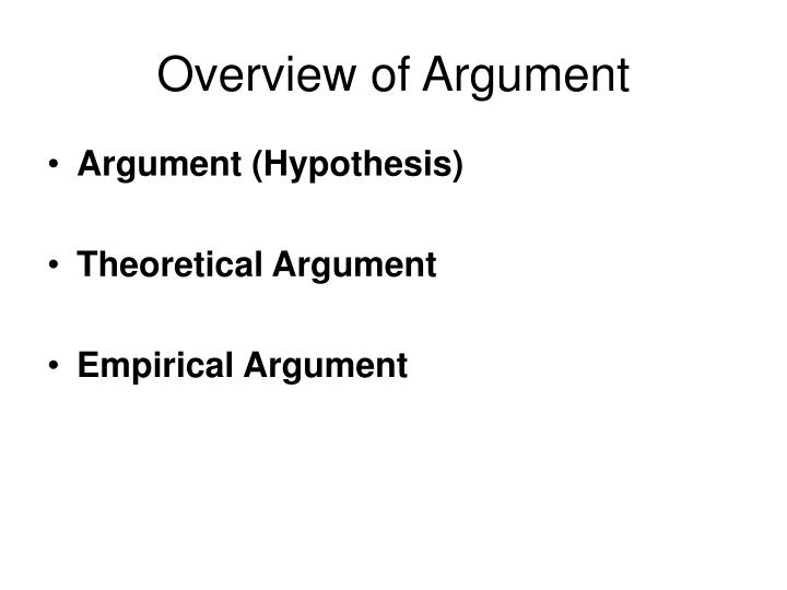 Overview of Argument