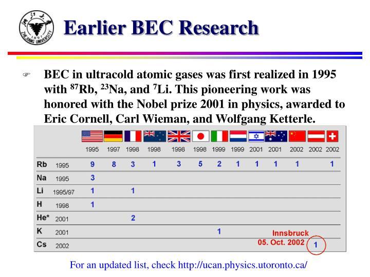 Earlier BEC Research