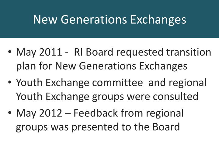 May 2011 -  RI Board requested transition plan for New Generations Exchanges