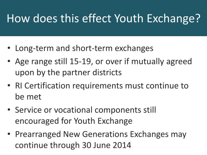 Long-term and short-term exchanges