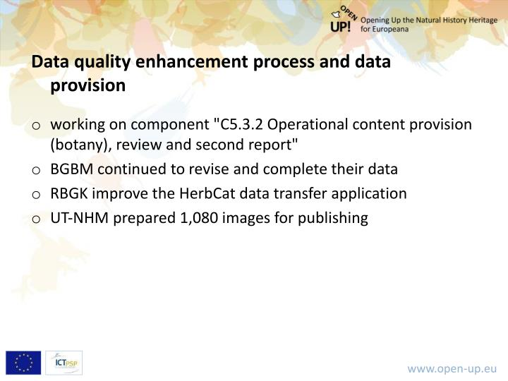 Data quality enhancement process and data