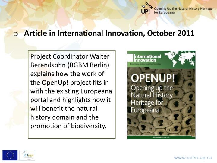 Article in International Innovation, October 2011