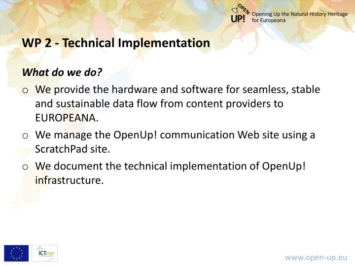 WP 2 - Technical Implementation