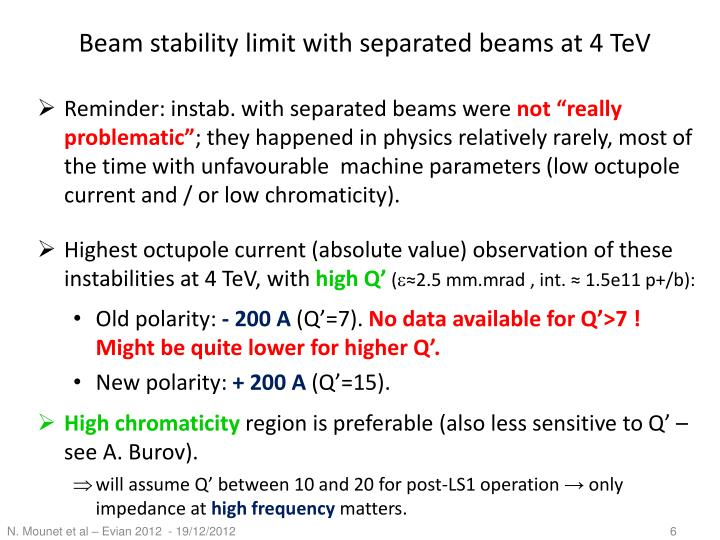 Beam stability limit with separated beams at 4 TeV