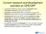 current r esearch and development activities on qpe qpf