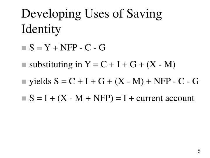 Developing Uses of Saving Identity