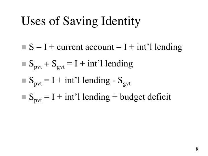 Uses of Saving Identity