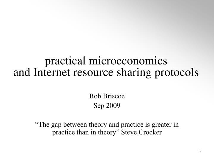 practical microeconomics and internet resource sharing protocols n.