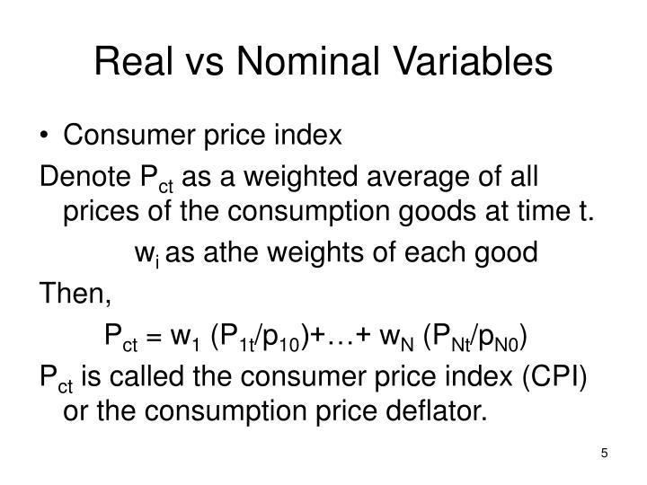 Real vs Nominal Variables