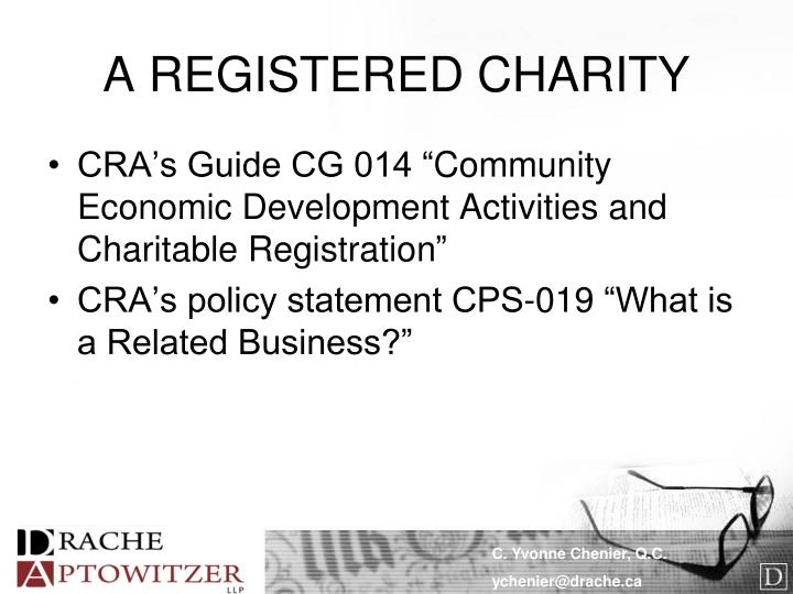 A REGISTERED CHARITY