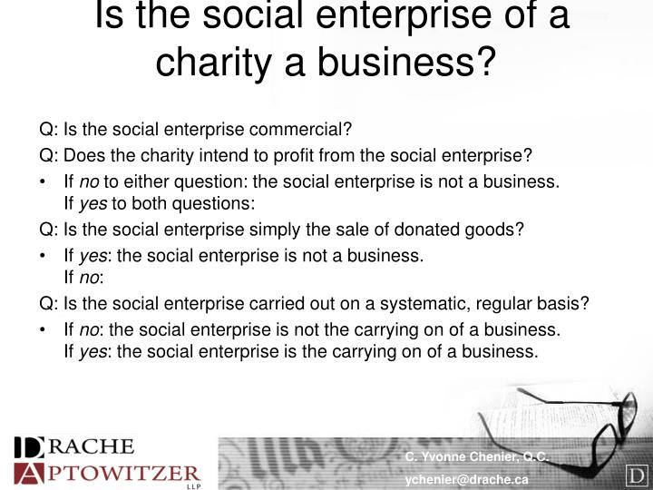 Is the social enterprise of a charity a business?
