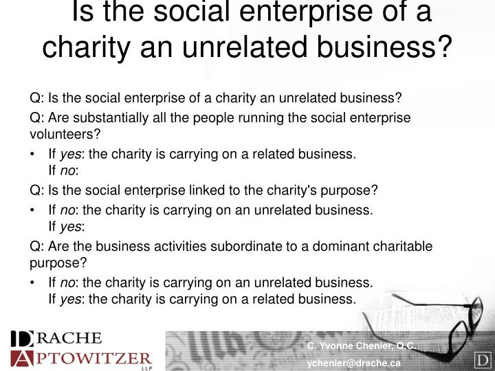 Is the social enterprise of a charity an unrelated business?