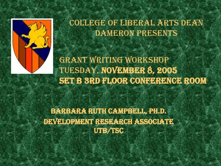 college of liberal arts dean dameron presents n.