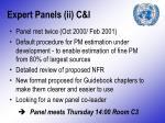 expert panels ii c i