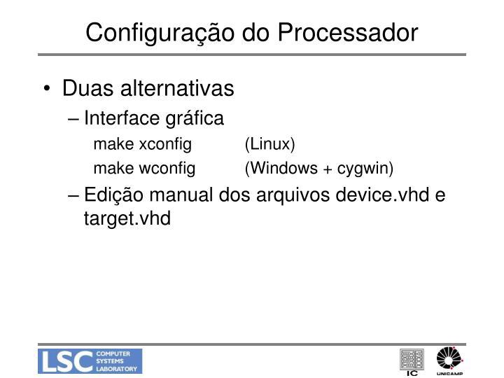 Configura o do processador