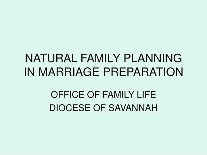 Natural family planning in marriage preparation