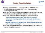 project columbia update