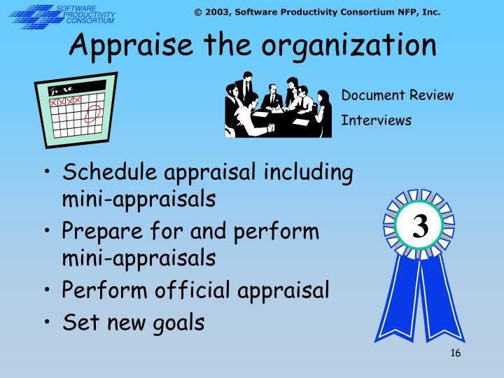 Appraise the organization
