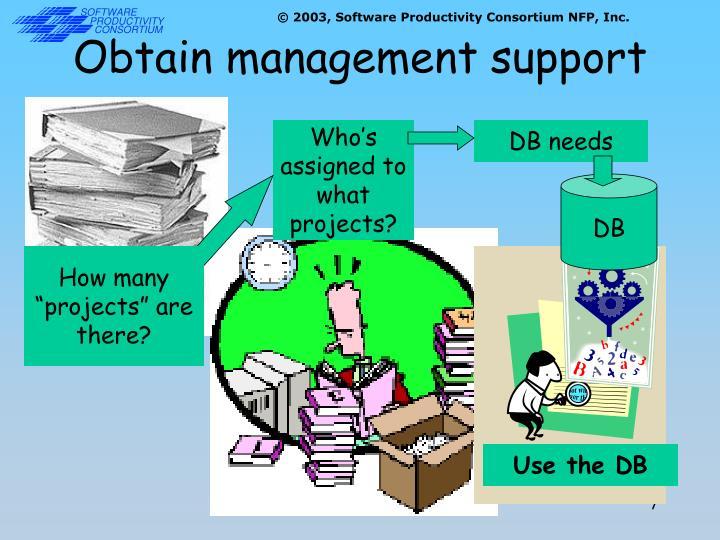 Obtain management support