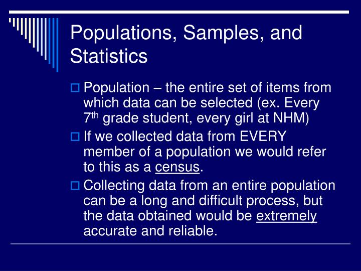 Populations, Samples, and Statistics