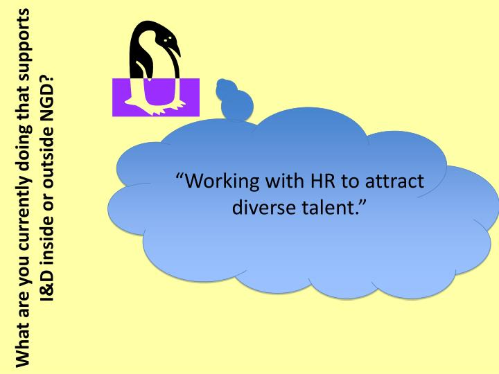 """Working with HR to attract diverse talent."""