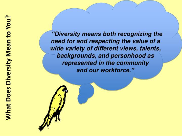 """Diversity means both recognizing the need for and respecting the value of a wide variety of different views, talents, backgrounds, and personhood as represented in the community"