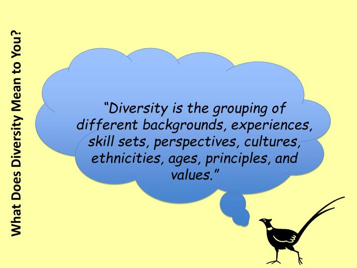 """Diversity is the grouping of different backgrounds, experiences, skill sets, perspectives, cultures,"