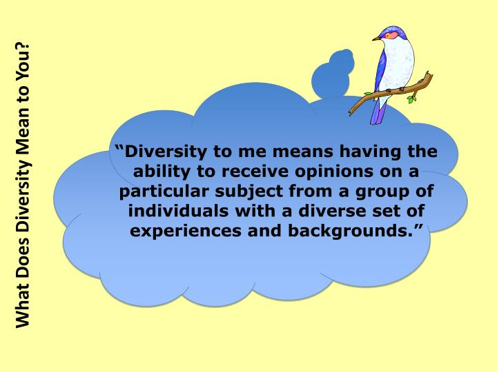 """Diversity to me means having the ability to receive opinions on a particular subject from a group of individuals with a diverse set of experiences and backgrounds."""