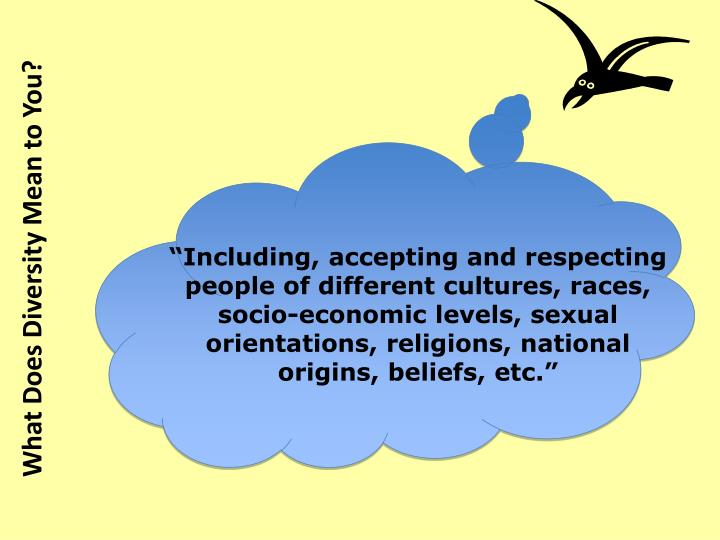 """Including, accepting and respecting people of different cultures, races, socio-economic levels, sexual orientations, religions, national origins, beliefs, etc."""