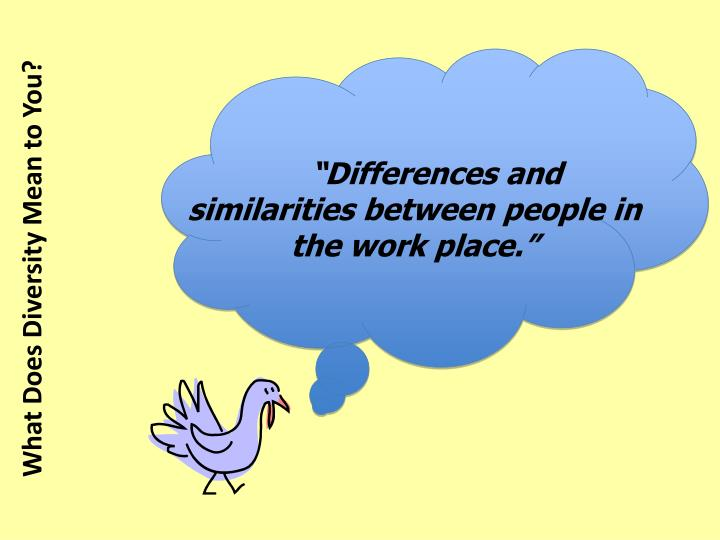 """Differences and similarities between people in the work place."""