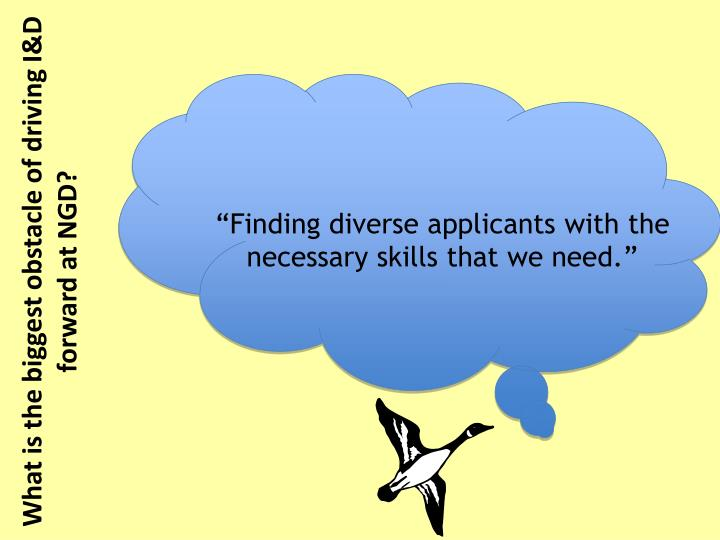 """Finding diverse applicants with the necessary skills that we need."""