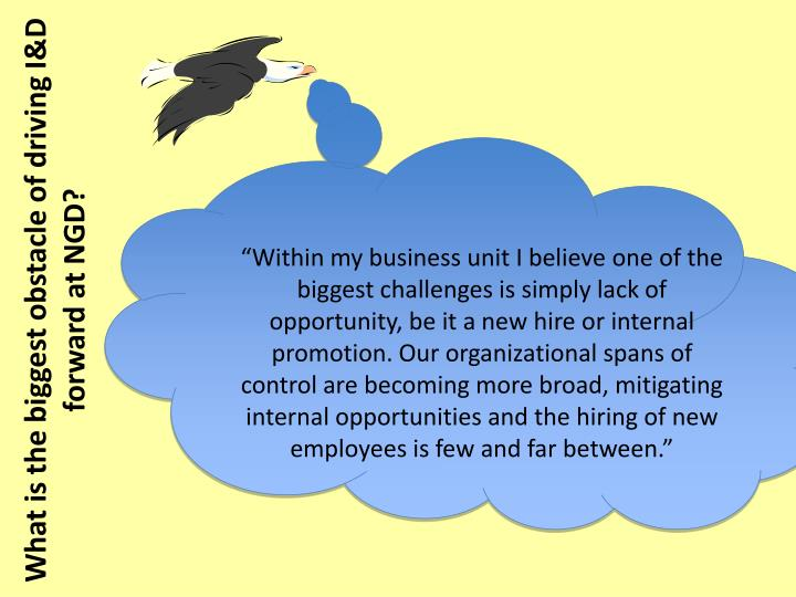 """Within my business unit I believe one of the biggest challenges is simply lack of opportunity, be it a new hire or internal promotion. Our organizational spans of control are becoming more broad, mitigating internal opportunities and the hiring of new employees is few and far between."""