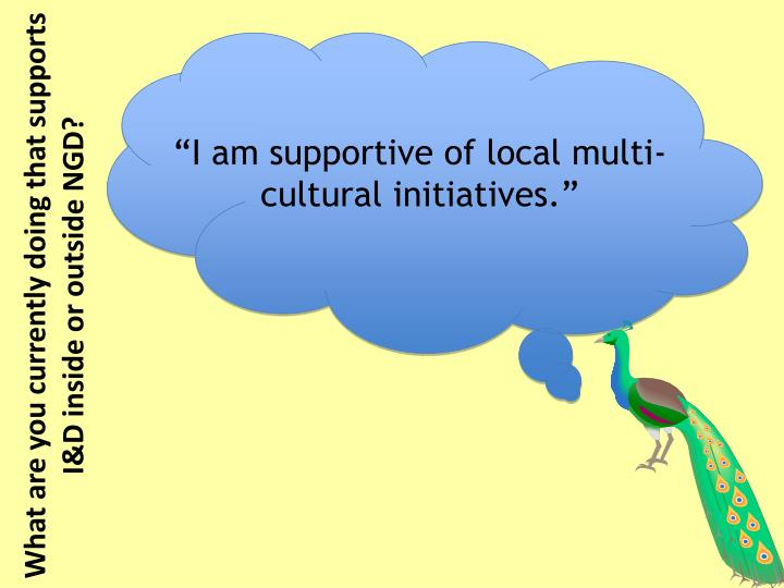 """I am supportive of local multi-cultural initiatives."""