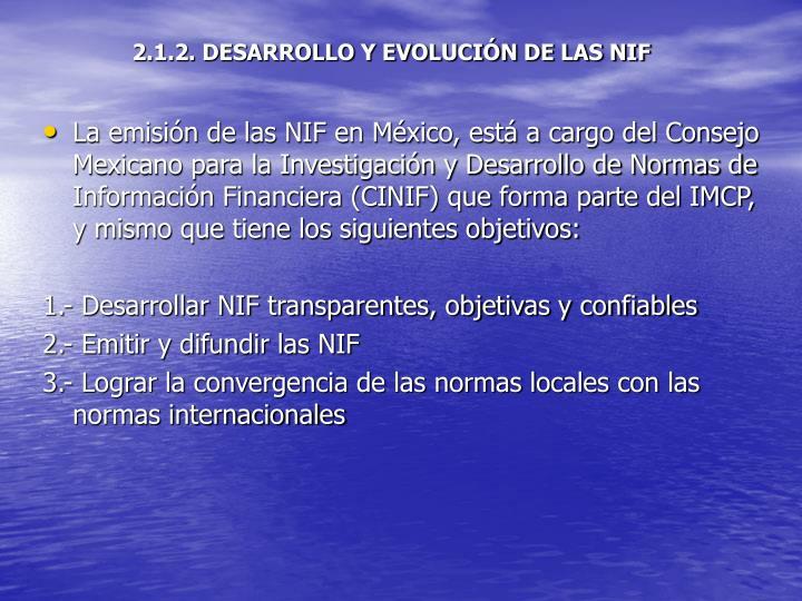2.1.2. DESARROLLO Y EVOLUCIÓN DE LAS NIF