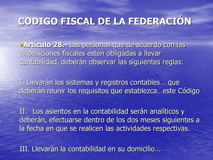 CODIGO FISCAL DE LA FEDERACIÓN