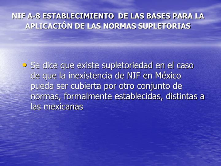 NIF A-8 ESTABLECIMIENTO